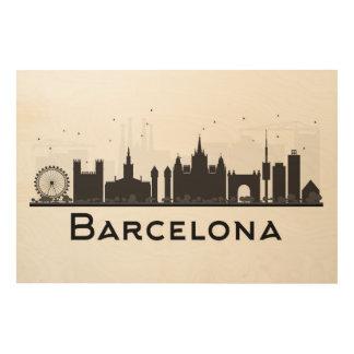 Barcelona, Spain   Black & White City Skyline Wood Wall Decor