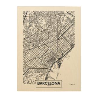 Barcelona, Spain   City Map Wood Wall Decor