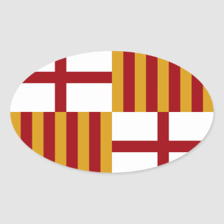 Barcelona (Spain) Flag Oval Sticker