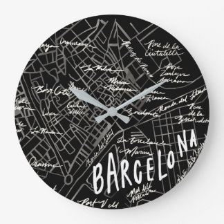 Barcelona Spain Map Clock - Black Vintage Style