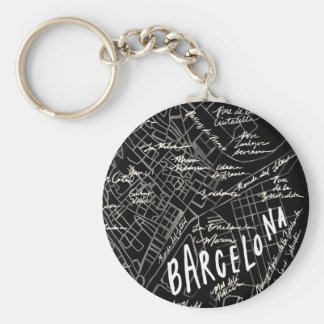 Barcelona Spain Map Keychain