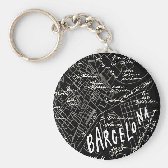 Barcelona Spain Map Keychain