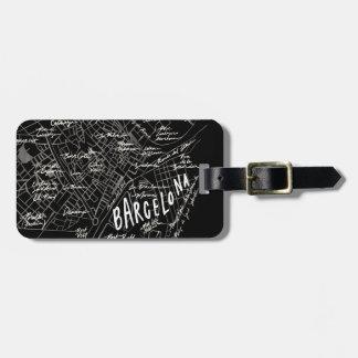 Barcelona Spain Map Luggage Tag - Black Vintage