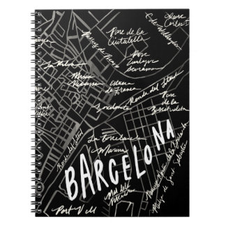 Barcelona Spain Map Notebook - Black Vintage Style