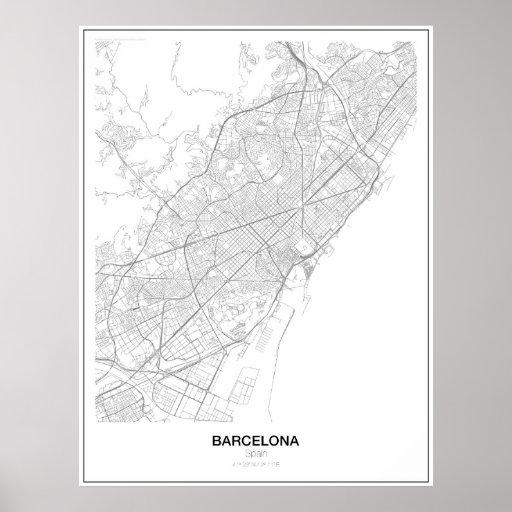 Barcelona, Spain Minimalist Map Poster (Style 2)