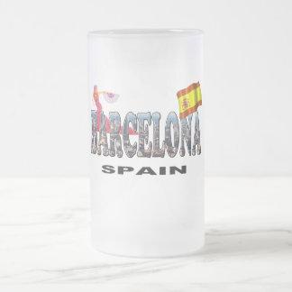 Barcelona Spain 16 Oz Frosted Glass Beer Mug