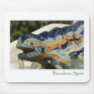 Barcelona Spain Parc Guell Mosaic Lizard Mouse Mat