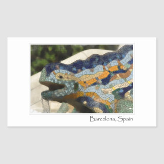 Barcelona Spain Parc Guell Mosaic Lizard Rectangular Sticker