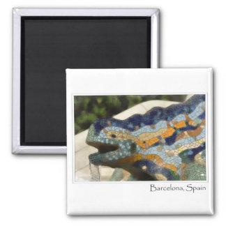 Barcelona Spain Parc Guell Mosaic Lizard Square Magnet