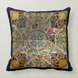 Barcelona Spain, Park Güell, Mosaic Tile Cushion
