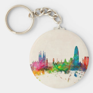 Barcelona Spain Skyline Key Ring