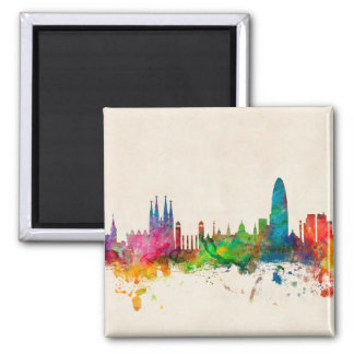 Barcelona Spain Skyline Magnet
