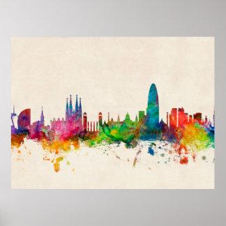 Barcelona Spain Skyline Posters