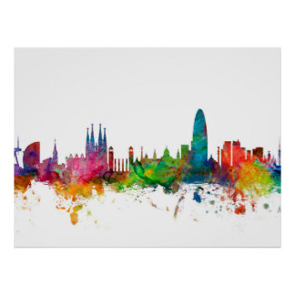Barcelona Spain Skyline Poster