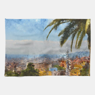 Barcelona Spain Skyline Tea Towel