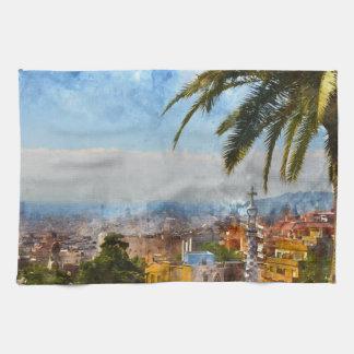 Barcelona Spain Skyline Towels