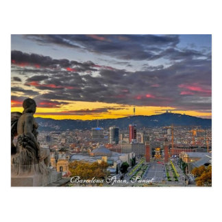 Barcelona, Spain Sunset- Postcard
