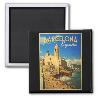 Barcelona Spain Vintage Travel Magnet