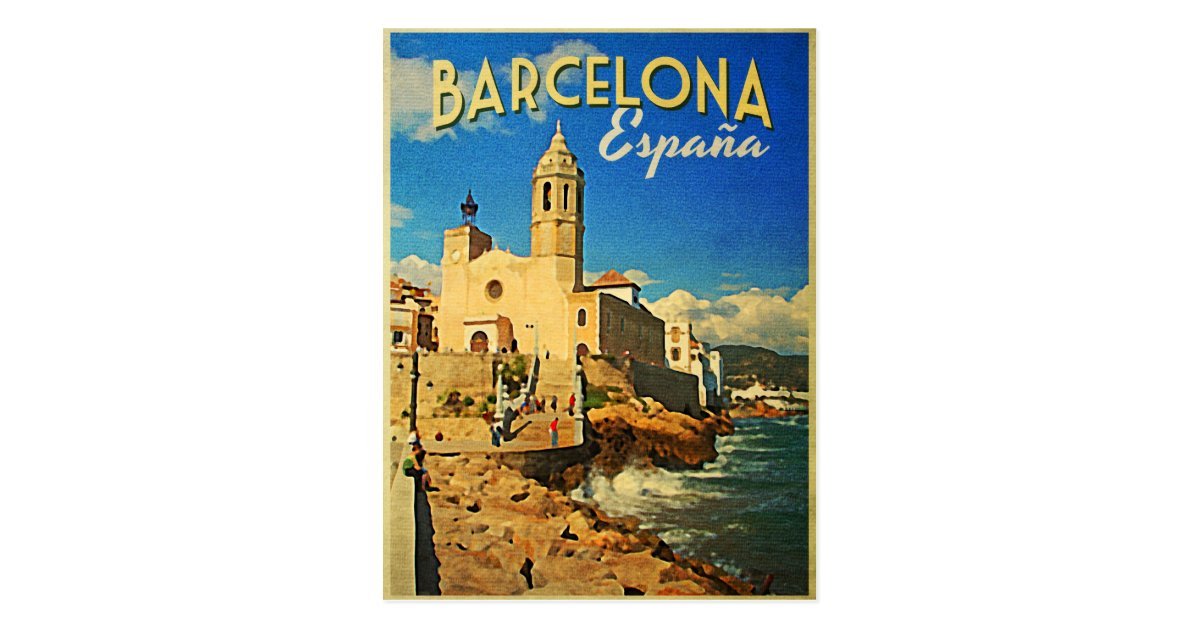Barcelona Spain Vintage Travel Postcard Zazzle Co Uk