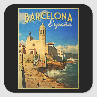 Barcelona Spain Vintage Travel Square Sticker