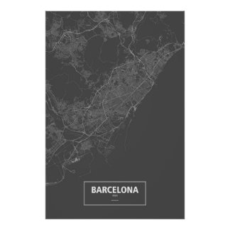 Barcelona, Spain (white on black) Poster