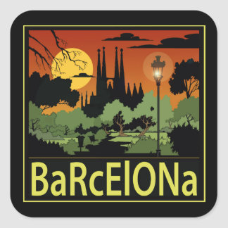 Barcelona Square Stickers, Glossy Square Sticker