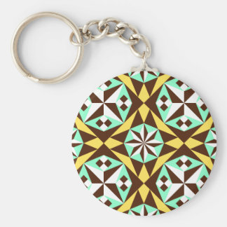 Barcelona tile pattern in yellow, brown and blue basic round button key ring