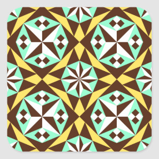 Barcelona tile pattern in yellow, brown and blue square sticker