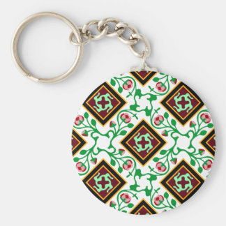 Barcelona tile red floral pattern basic round button key ring