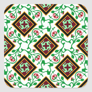 Barcelona tile red floral pattern square sticker