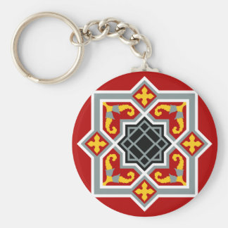 Barcelona tile red octagonal pattern basic round button key ring