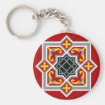 Barcelona tile red octagonal pattern key chains