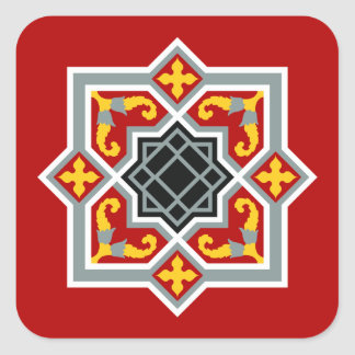 Barcelona tile red octagonal pattern square sticker