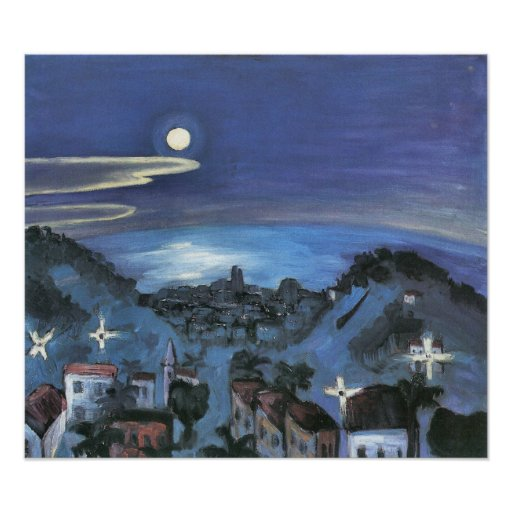 Barcelona View of City at Night by Walter Gramatte Posters