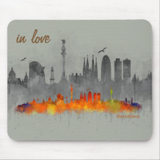 Barcelona watercolor Skyline in love Mouse Mat