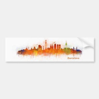 Barcelona watercolor Skyline v03 Bumper Sticker