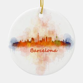 Barcelona watercolor Skyline v04 Christmas Ornament