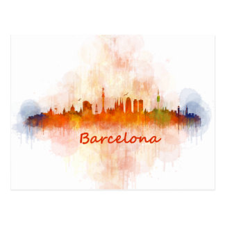 Barcelona watercolor Skyline v04 Postcard