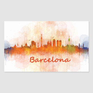 Barcelona watercolor Skyline v04 Rectangular Sticker