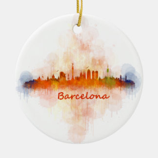 Barcelona watercolor Skyline v04 Round Ceramic Decoration