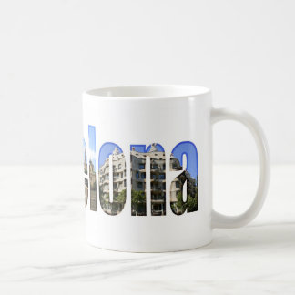 Barcelona with tourist attractions in letters basic white mug