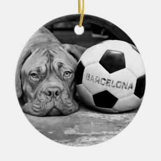 Barcelona's soccer fanatic dog. Barcelona, Spain Round Ceramic Decoration