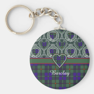 Barclay clan Plaid Scottish tartan Basic Round Button Key Ring
