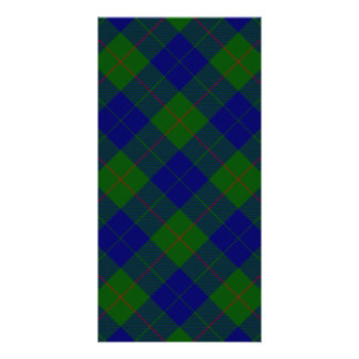 Barclay clan tartan blue green plaid personalized photo card