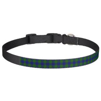 Barclay clan tartan blue green plaid pet collar