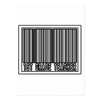 Barcode 1st Grade Teacher Postcard