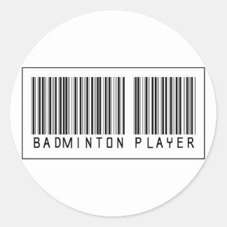 Barcode Badminton Player Round Sticker