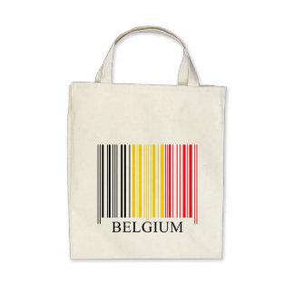 Barcode Belgium Flag Tote Bags