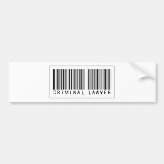 Barcode Criminal Lawyer Bumper Stickers