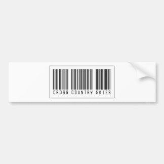 Barcode Cross Country Skier Car Bumper Sticker